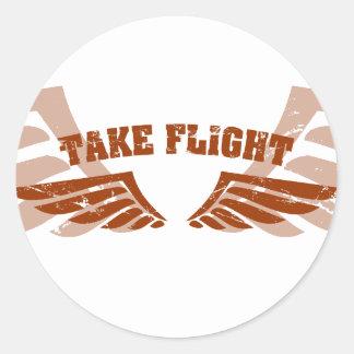 Tome as asas da aviação do vôo adesivo redondo