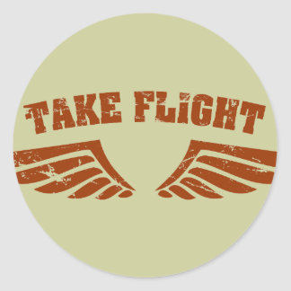 Tome as asas da aviação do vôo adesivo em formato redondo