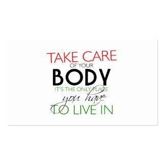Tome de seu cartão do nutricionista do corpo cartões de visita