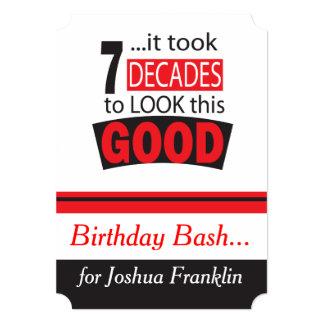Tomou a década 7 para olhar este bom aniversário convite 12.7 x 17.78cm
