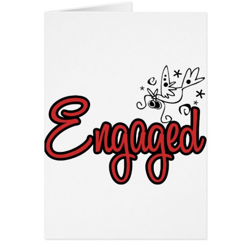 ToonDoveEngagedRed Cartão