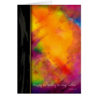 Toque do cartão de aniversário pintado roxo para a