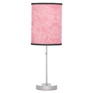 Torções florais cor-de-rosa do pêssego abajur de mesa