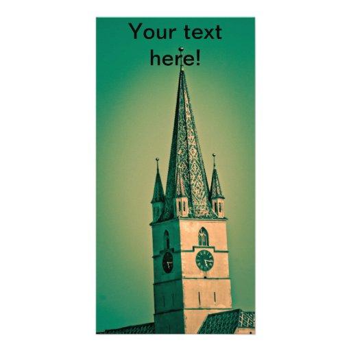 Torre de igreja evangélica cartão com fotos personalizado