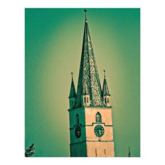 Torre de igreja evangélica panfleto coloridos