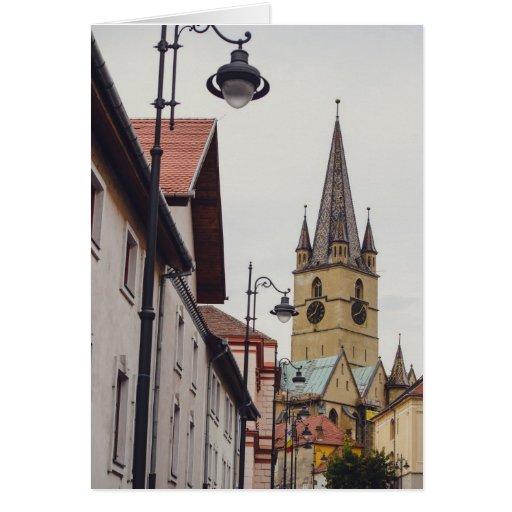 Torre de igreja evangélica, Sibiu Cartão
