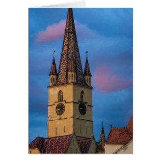 Torre de igreja evangélica, Sibiu Cartão Comemorativo