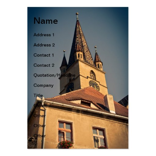 Torre de igreja evangélica, Sibiu Modelo Cartoes De Visita