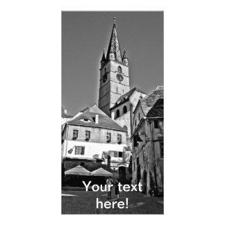 Torre de igreja evangélica, Sibiu Cartão Com Foto Personalizado