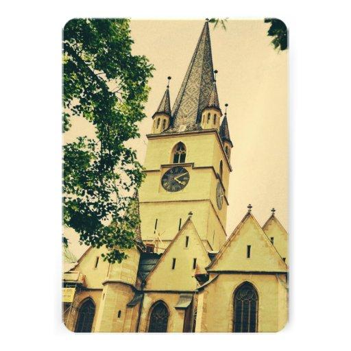 Torre de igreja evangélica, Sibiu Convites Personalizado