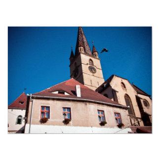 Torre de igreja evangélica, Sibiu Convite 16.51 X 22.22cm