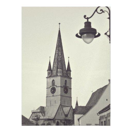 Torre de igreja evangélica, Sibiu Convite Personalizados