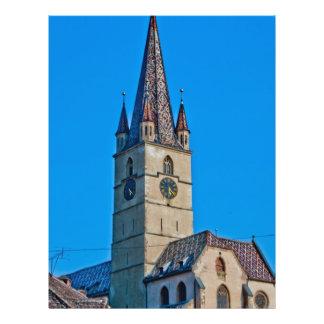 Torre de igreja evangélica Sibiu Panfletos Coloridos