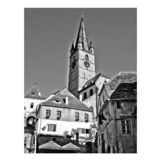 Torre de igreja evangélica, Sibiu Panfletos Personalizado