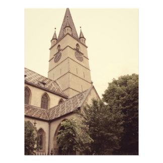 Torre de igreja evangélica, Sibiu Modelo De Panfleto