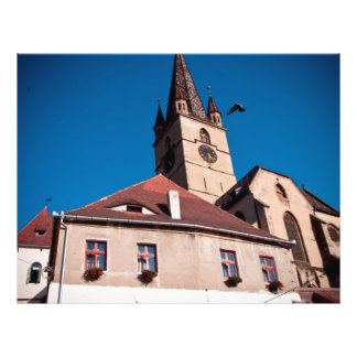 Torre de igreja evangélica Sibiu Panfleto Personalizado