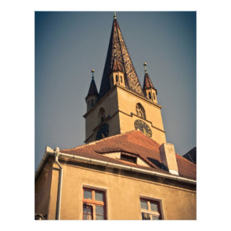 Torre de igreja evangélica, Sibiu Panfletos Personalizados