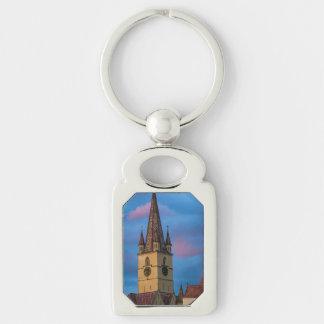 Torre de igreja evangélica, Sibiu Chaveiro Retangular Cor Prata