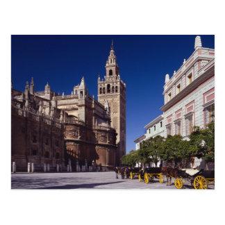 Torre de sino de Giralda e catedral, Madrid, espan Cartao Postal