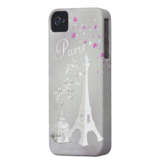 Torre Eiffel branca chique & borboletas lunáticas Capa Para iPhone 4 Case-Mate