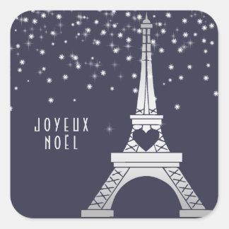 Torre Eiffel com Feliz Natal da neve | em Paris Adesivo Quadrado