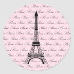 Torre Eiffel cor-de-rosa e preta de Paris Adesivos Redondos