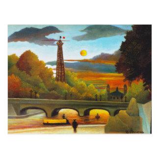 Torre Eiffel de Henri Rousseau no cartão do por do