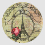 Torre Eiffel de Paris & rosa vermelha Steampunk Adesivos Redondos