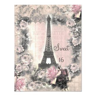 Torre Eiffel do chique & doce 16 dos rosas Convite 10.79 X 13.97cm
