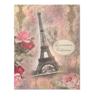 Torre Eiffel do chique & rosas Quinceanera Convites Personalizados