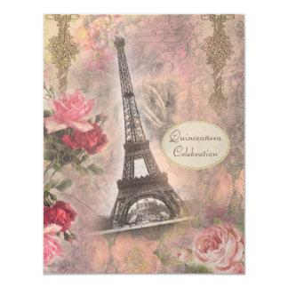 Torre Eiffel do chique & rosas Quinceanera Convite 10.79 X 13.97cm