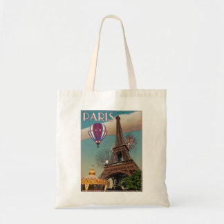 Torre Eiffel do vintage - 18x24 Bolsa Para Compras