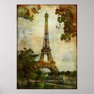 Torre Eiffel do vintage Pôster