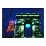 Torre Eiffel e Arco do Triunfo com lua Convite Personalizados