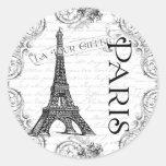 Torre Eiffel e rolos de Paris Adesivos Redondos