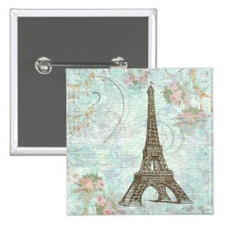 Torre Eiffel e rosas cor-de-rosa Botons