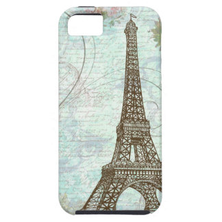 Torre Eiffel e rosas cor-de-rosa Capa Tough Para iPhone 5