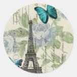 torre Eiffel elegante da borboleta do vintage de Adesivo Em Formato Redondo