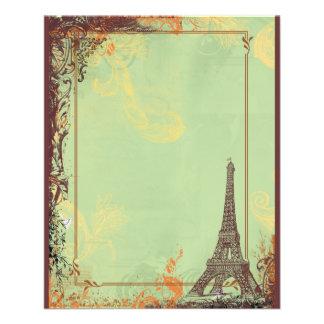 Torre Eiffel em anúncios verdes do insecto Panfleto
