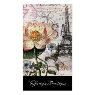 torre Eiffel feminino de Paris do vintage da flor Cartões De Visitas