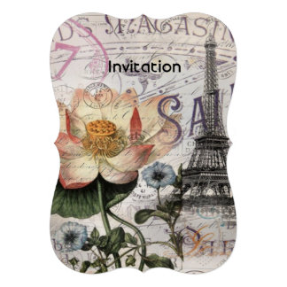 torre Eiffel feminino de Paris do vintage da flor Convites Personalizados