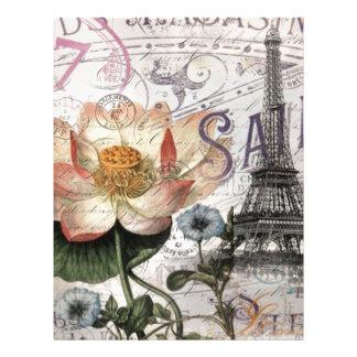 torre Eiffel feminino de Paris do vintage da flor Modelos De Papel De Carta
