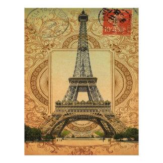 torre Eiffel feminino moderna do vintage do teste Papel De Carta Personalizados