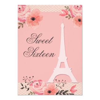 Torre Eiffel floral chique de Paris do doce 16 Convite 12.7 X 17.78cm