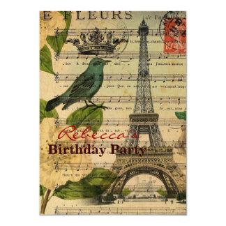 torre Eiffel francesa de Paris do pássaro da arte Convite 11.30 X 15.87cm