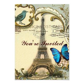 torre Eiffel gatsby de Paris do vintage dos Convite 12.7 X 17.78cm