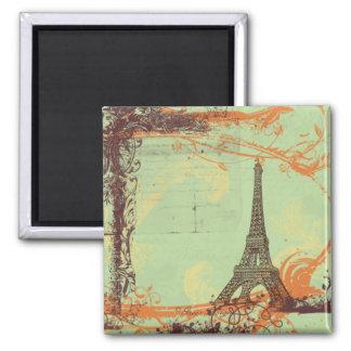 Torre Eiffel no ímã verde Ímã Quadrado
