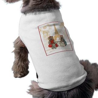 Torre Eiffel Paris de Yorkie Camisa Sem Mangas Para Cachorro