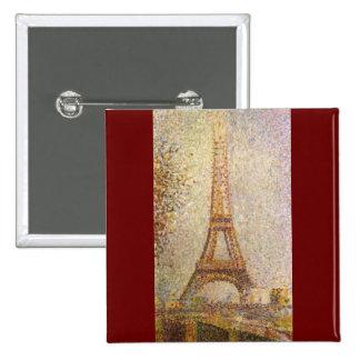 Torre Eiffel por Georges Seurat, belas artes do Bóton Quadrado 5.08cm