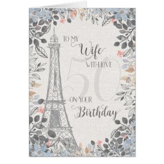 Torre Eiffel romântica do aniversário da esposa Cartão Comemorativo